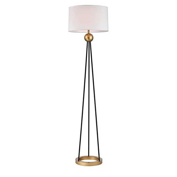 Warehouse of Tiffany Kathrin 69 in. 1 - Light Indoor Gold and Black Finish Floor Lamp with Light Kit - Home Depot