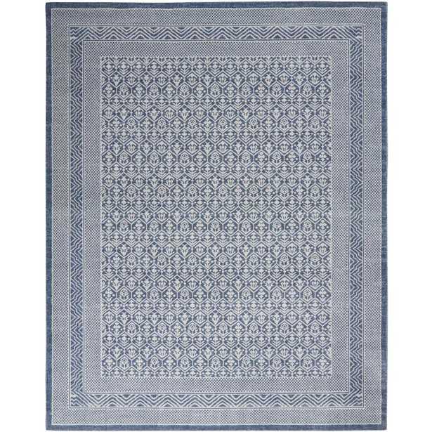Nourison Royal Moroccan 9' x 12' Distressed Bohemian Blue/Grey Area Rug - Home Depot