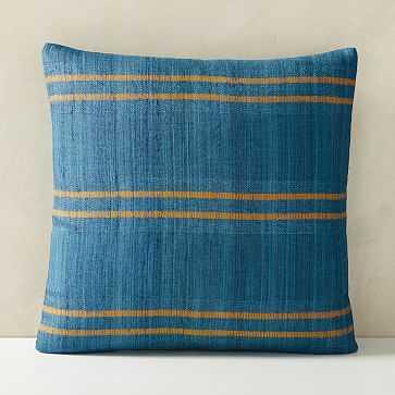 "Silk Stripes Pillow Cover, 20""x20"", Shadow Blue - West Elm"