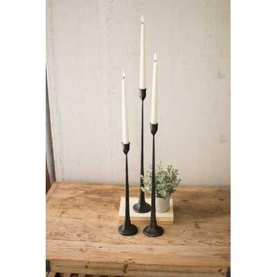 3 Piece Cast Tall Iron Candlestick Set - Birch Lane