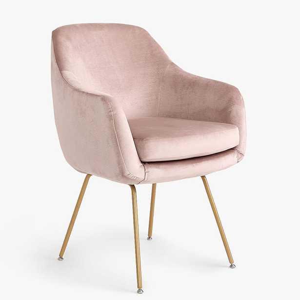 Baylor Stationary Desk Chair, Lustre Velvet Dusty Blush - Pottery Barn Teen