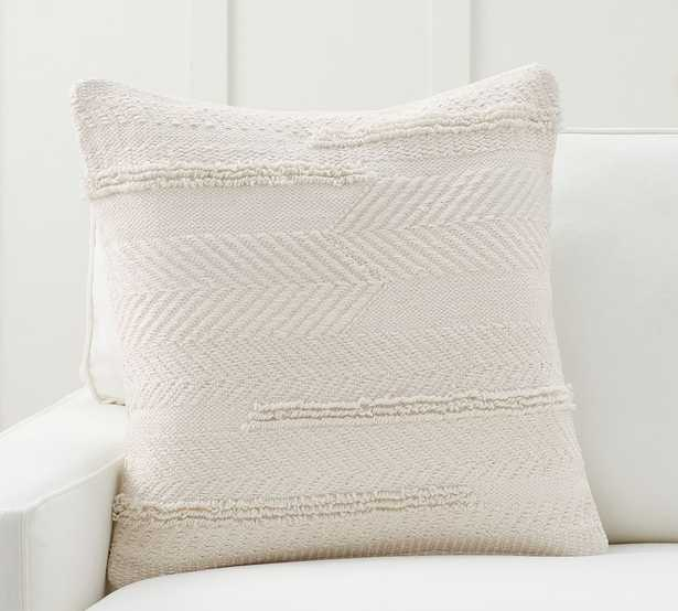 """Lyla Textured Pillow Cover, 24 x 24"""", Ivory - Pottery Barn"""