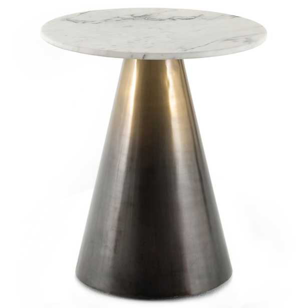 Mary Hollywood Regency White Top Marble Gold Ombre Metal Round End table - Kathy Kuo Home
