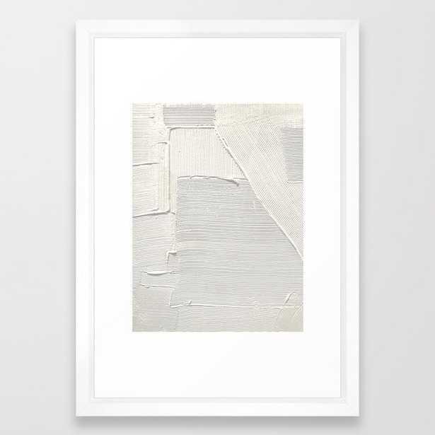 Relief [2]: An Abstract, Textured Piece In White By Alyssa Hamilton Art Framed Art Print by Alyssa Hamilton Art - Vector White - SMALL-15x21 - Society6
