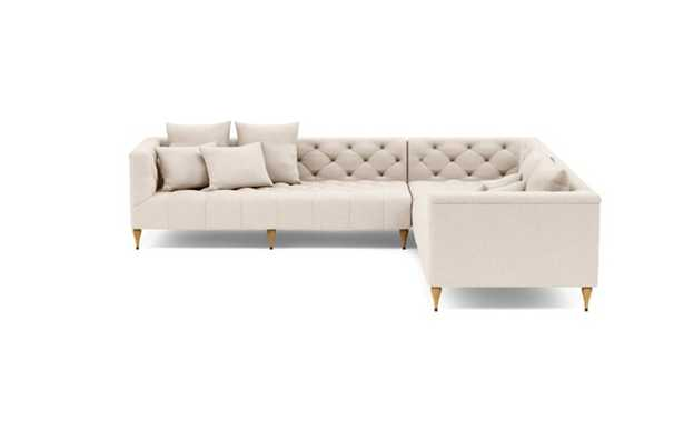 Ms. Chesterfield Corner Sectional with Beige Natural Fabric and Natural Oak with Antique Cap legs - Interior Define