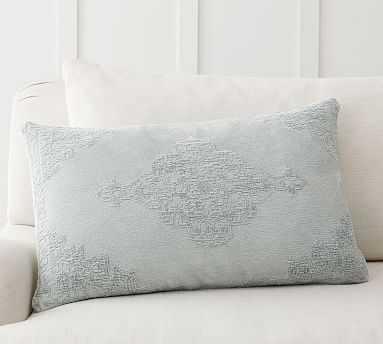"Maddie Textured Lumbar Pillow Cover, 16 x 26"", Beach Glass - Pottery Barn"