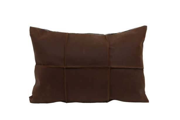 Brown Leather Pillow with Black & White Striped Felt Back - Nomad Home