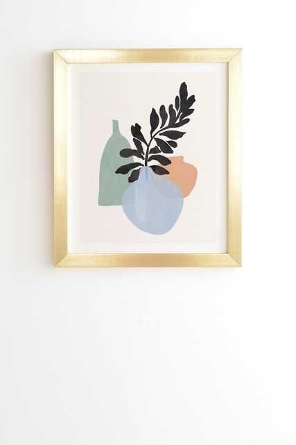 """Sea Glass Vases by Gale Switzer - Framed Wall Art Basic Gold 19"""" x 22.4"""" - Wander Print Co."""