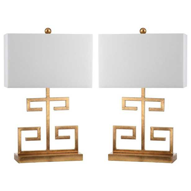 Safavieh Greek Key 24 in. Gold Table Lamp with Off-White Shade (Set of 2) - Home Depot