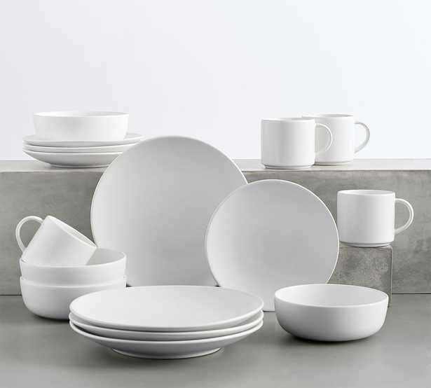 Mason Stoneware 16-Piece Dinnerware Set - True White - Pottery Barn