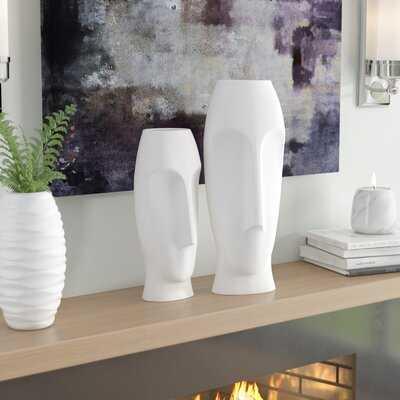 Traver 2 Piece Faces Ceramic Vase Set - Wayfair