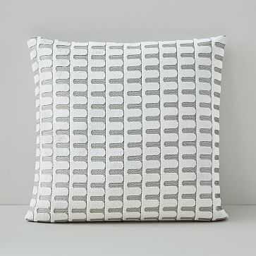 "Cut Velvet Archways Pillow Cover, 18""x18"", Stone White - West Elm"