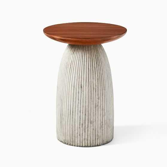 Odin Walnut Concrete Small 12.5 Inch Side Table - West Elm