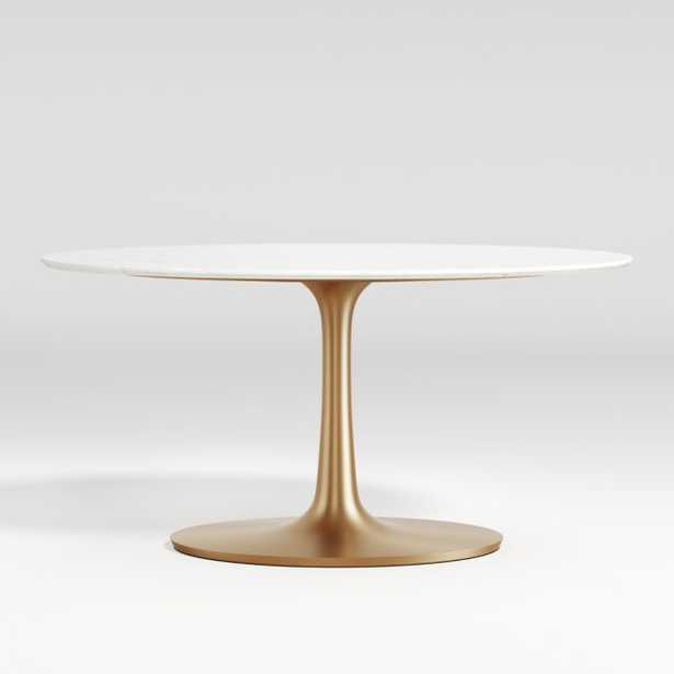 Nero Oval White Marble Dining Table with Brass Base - Crate and Barrel