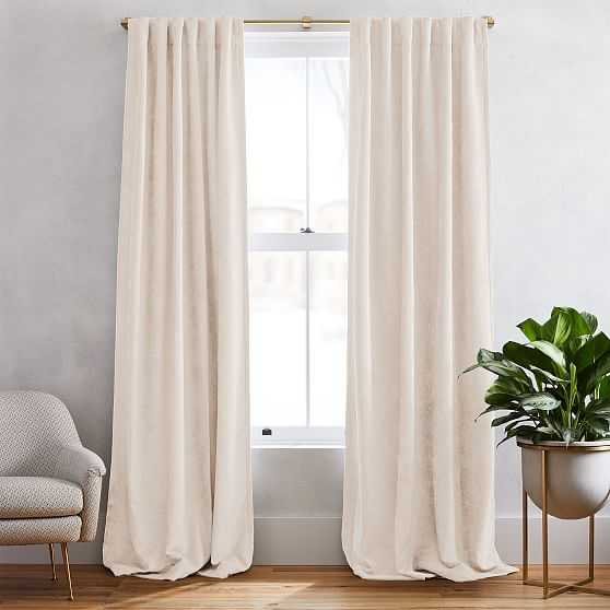 """Textured Upholstery Velvet Curtain with Black Out, Set of 2, Ivory, 48""""x96"""" - West Elm"""