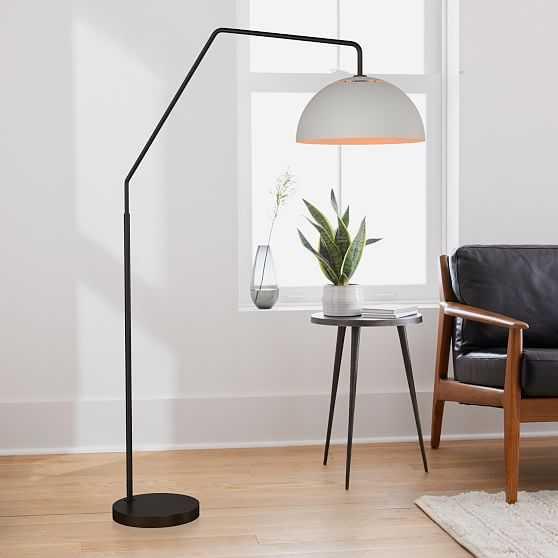 Sculptural Overarching Floor Lamp, Metal Medium, White, Antique Bronze - West Elm