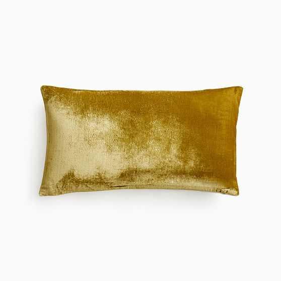 """Lush Velvet Pillow Cover, 12""""x21"""", Wasabi - West Elm"""