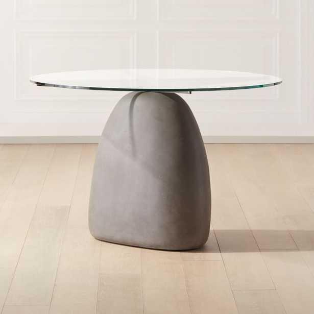 "Stone Grey Round Dining Table 47"" - CB2"