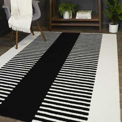 Mathilde Black Modern Stripe Area Rug - Wayfair
