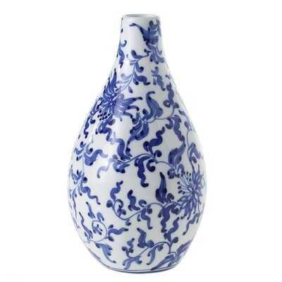 """Harlyn Blue/White 7"""" Ceramic Table Vase - Wayfair"""