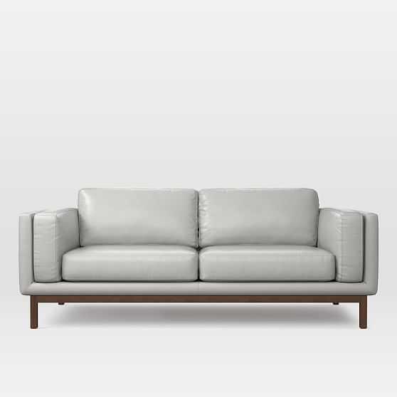 """Dekalb 85"""" Sofa, Parc Leather, Cement - West Elm"""