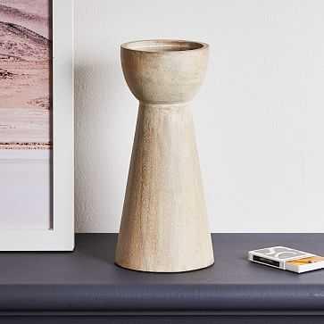 Pure Wood Pillar Candle Holder, White, Large - West Elm