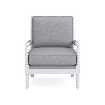 Spindle Chair, Down Cushion, Perennials Performance Canvas, Grey, White Leg - Williams Sonoma