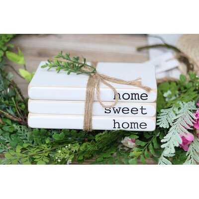 Gainz Home Sweet Home Decorative Faux Wood Book with Leaves and Jute String - Wayfair