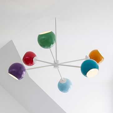 Colorful Globe 6 Light Chandelier, Multi, White - West Elm