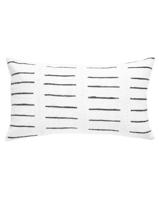 dash mud cloth lumbar pillow in white - with insert - PillowPia