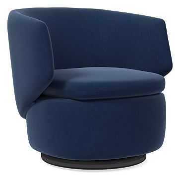 Crescent Swivel Chair, Poly, Performance Velvet, Ink Blue, Concealed Support - West Elm
