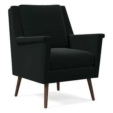 Carlo Mid-Century Chair, Poly, Astor Velvet, Iron, Pecan - West Elm