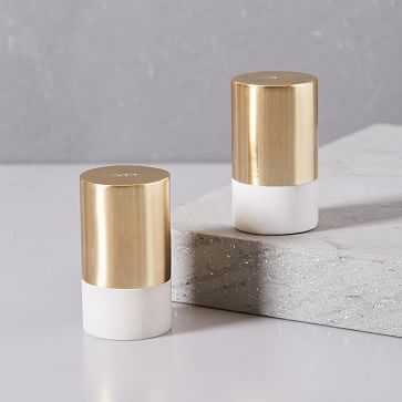 Marble and Brass Salt + Pepper Shakers, Set of 2, White - West Elm