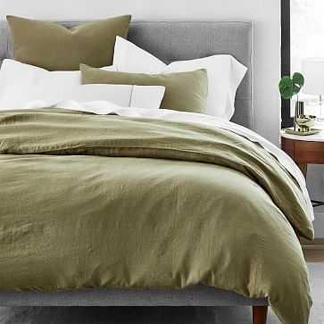 Belgian Flax Linen Duvet Cover, Full/Queen, CEDAR - West Elm