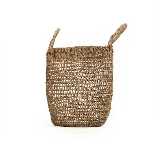 Zentique Cylindrical Sparsely Hand Woven Seagrass Small Basket with Handles, Beige - Home Depot
