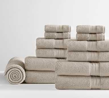 Hydrocotton Organic Bath, Hand, Washcloth Towels & 1 Bath Mat, Set of 13, Taupe - Pottery Barn