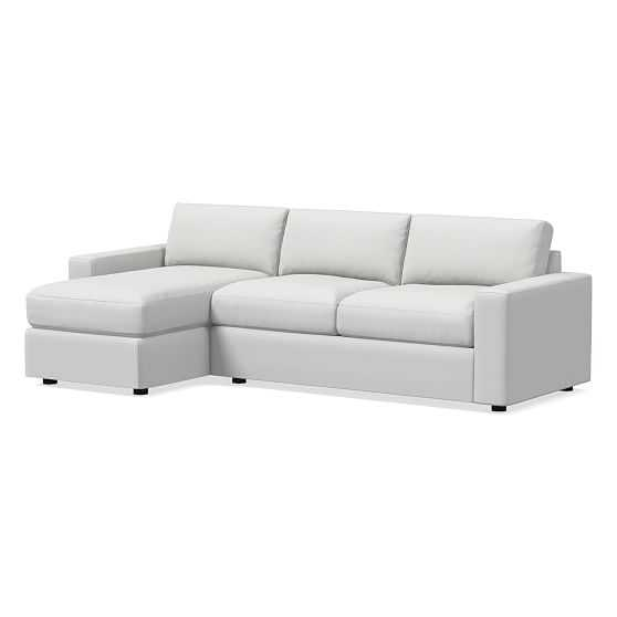 Urban Sectional Set 18: Right Arm Sleeper Sofa, Left Arm Storage Chaise, Poly, Performance Washed Canvas, White, Concealed Supports - West Elm