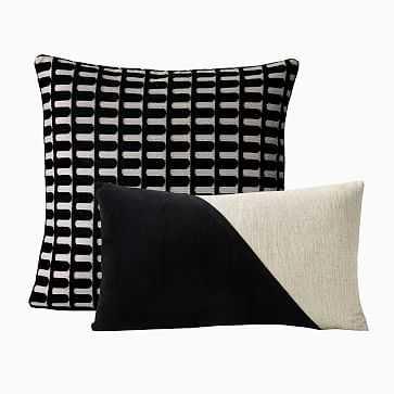Cut Velvet Archways; Cotton Linen; Velvet Corners Pillow Cover Set, Black, Set of 2 - West Elm