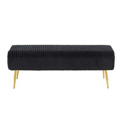 Mutlu Glam Pleated Bench In Gold Steel And Black Velvet By Everly Quinn - Wayfair