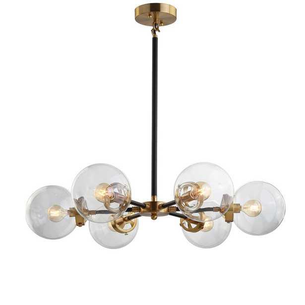 JONATHAN Y Caleb 28 in. 6-Light Black/Brass Cluster Pendant - Home Depot