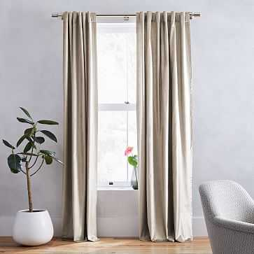"Luster Velvet Curtain, Simple Taupe, 48""x96"", Set of 2 - West Elm"