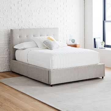 Grid Tufted Storage Bed, King, Standard, Performance Coastal Linen, Pebble Stone - West Elm