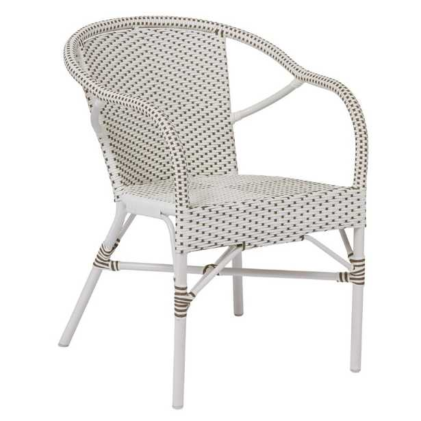 Madie Coastal Beach White and Light Brown Rattan Aluminum  Outdoor Arm Chair - Kathy Kuo Home