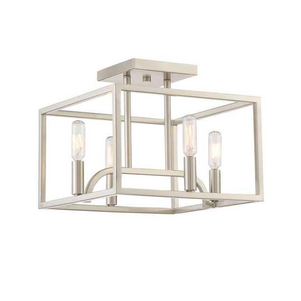 Designers Fountain Uptown 4-Light Satin Platinum Semi-Flush Mount - Home Depot
