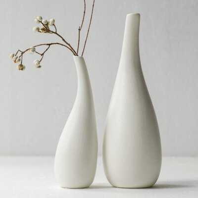 Ceramic Vase Pack 2, White Modern Bud Vase, Ceramic Modern Vase Decor, Sculpture Decor, Fire Place Decoration, Mid Century Modern, Drip - Wayfair