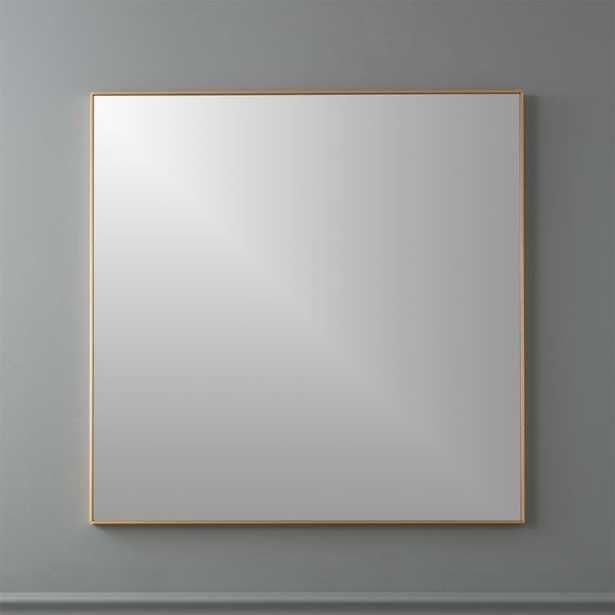 "Infinity Brass 31"" Square Wall Mirror - CB2"