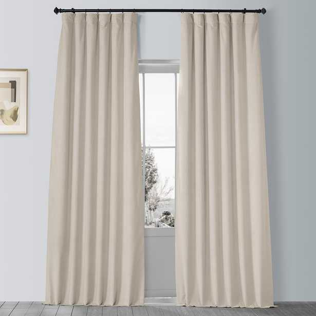 Exclusive Fabrics & Furnishings Signature Neutral Beige Ground Blackout Velvet Curtain - 50 in. W x 96 in. L - Home Depot