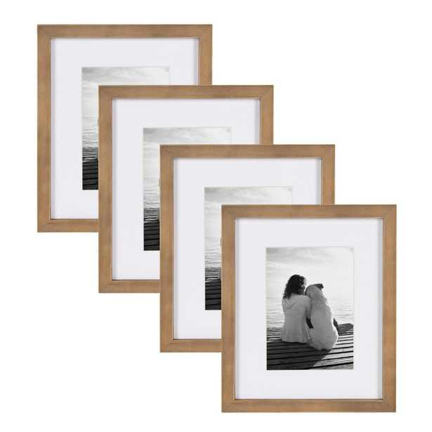 Gallery 8 in. x 10 in. matted to 5 in. x 7 in. Rustic Brown Wood Picture Frame (Set of 4) - Home Depot