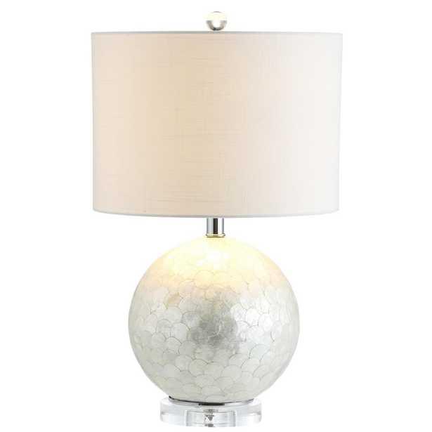 JONATHAN Y Zuri 23.5 in. Pearl/White Capiz Seashell Sphere Table Lamp - Home Depot