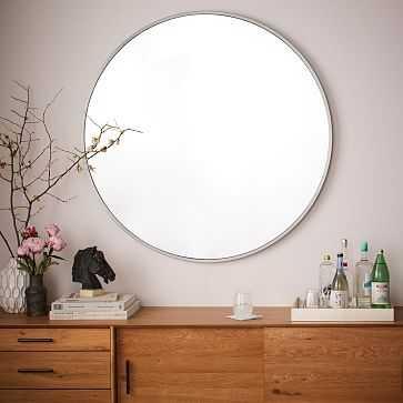 Metal Framed Oversized Round, Mirror, Brushed Nickel - West Elm